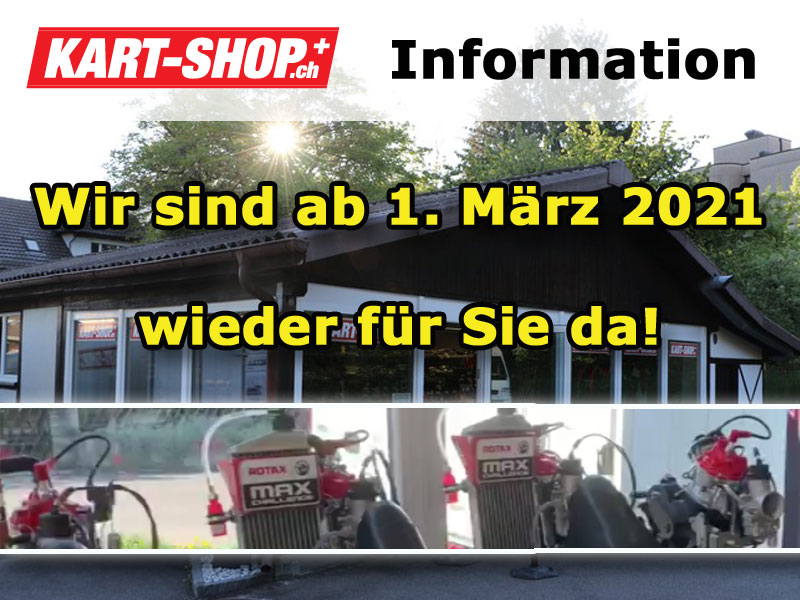 Kart-Shop ab 1.3.2021 normal geöffnet
